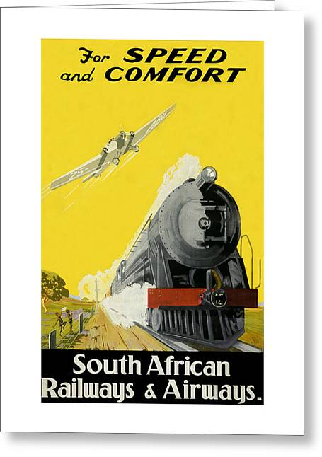 Vintage Airline Greeting Cards - Vintage Railroad Ad 1939 Greeting Card by Andrew Fare