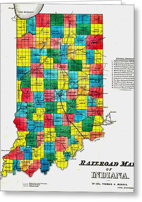 Hoosiers Greeting Cards - Vintage Railroad Map of Indiana Greeting Card by Benjamin Yeager