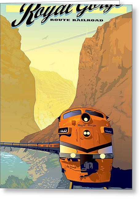 Vintage Railroad Poster Greeting Card by Allen Beilschmidt