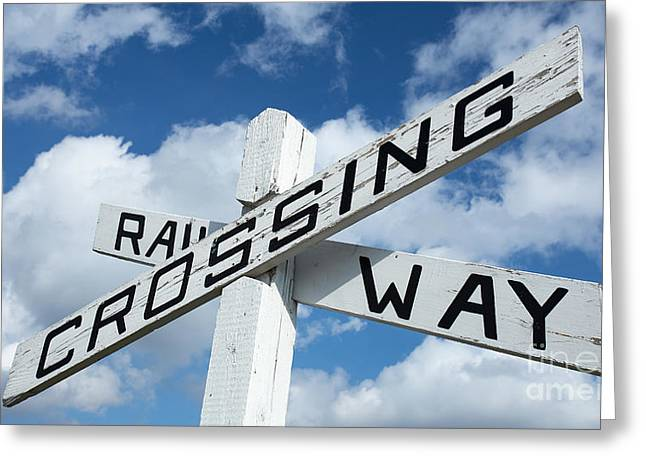 Crossroads Greeting Cards - Vintage Railway Crossing Sign Greeting Card by Edward Fielding