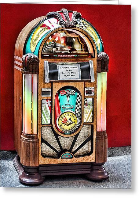 Vintage Music Player Greeting Cards - Vintage Record Machine Greeting Card by Linda Phelps
