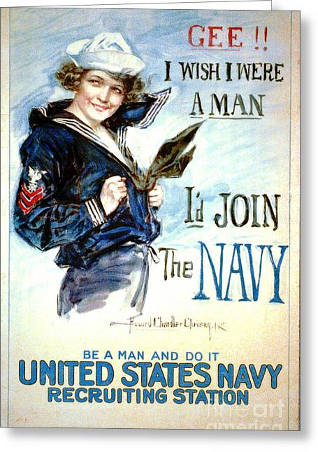 Enlistment Greeting Cards - Vintage Recruiting Poster 1917 Greeting Card by Padre Art