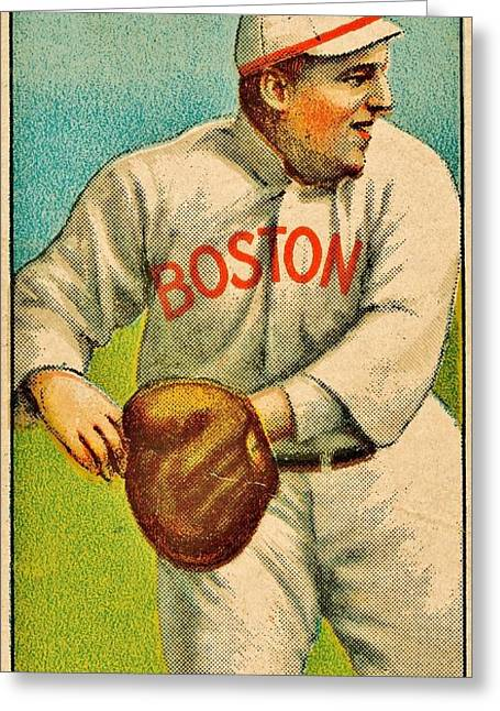 Boston Red Sox Greeting Cards - Vintage Red Sox Greeting Card by Benjamin Yeager
