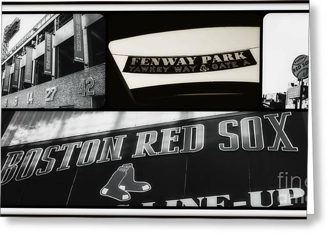 Red Sox Art Greeting Cards - Vintage Red Sox Collage Greeting Card by Alanna DPhoto