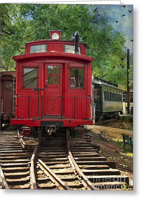 Caboose Photographs Greeting Cards - Vintage Red Train Greeting Card by Juli Scalzi