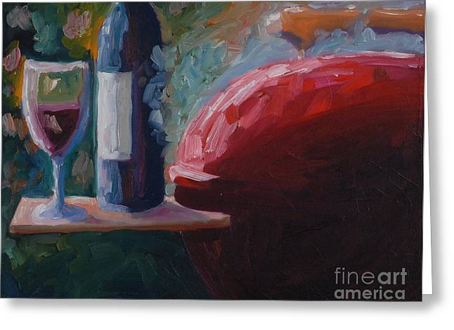 Red Wine Bottle Greeting Cards - Vintage Red Weber Grill Greeting Card by Todd Bandy