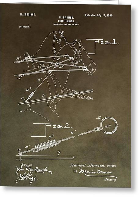 Steer Mixed Media Greeting Cards - Vintage Rein Holder Patent Greeting Card by Dan Sproul