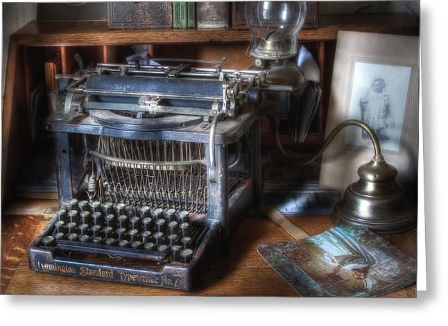Vintage Remington Typewriter Greeting Card by David and Carol Kelly