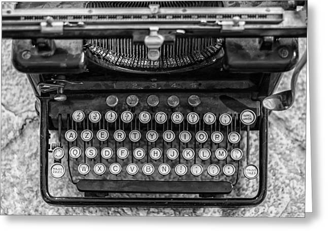 Typewriter Keys Photographs Greeting Cards - Vintage Remington Typewriter Greeting Card by Nomad Art And  Design