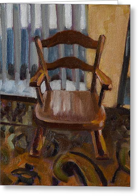 Rocking Chairs Paintings Greeting Cards - Vintage Rocker Greeting Card by Pattie Wall