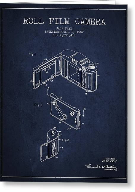 Famous Photographer Greeting Cards - Vintage roll film camera patent from 1952 Greeting Card by Aged Pixel