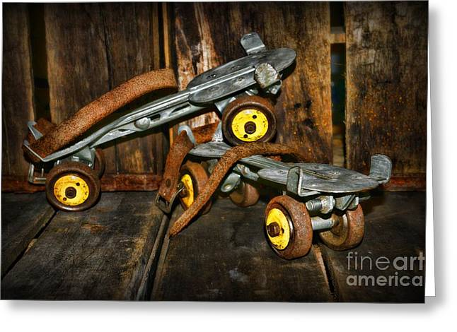Old Skates Photographs Greeting Cards - Vintage Roller Skates 1 Greeting Card by Paul Ward