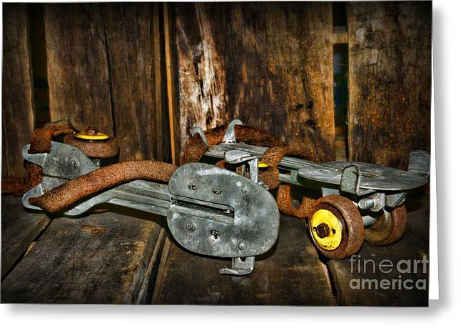Old Skates Photographs Greeting Cards - Vintage Roller Skates 2 Greeting Card by Paul Ward