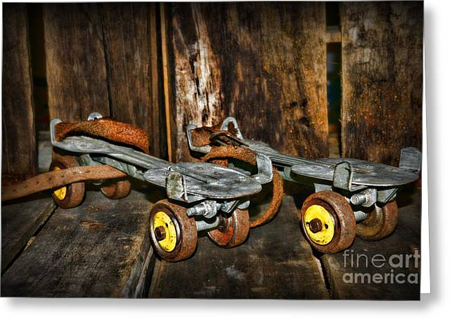 Roller Skates Greeting Cards - Vintage Roller Skates 3 Greeting Card by Paul Ward