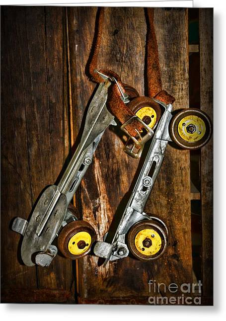 Old Skates Photographs Greeting Cards - Vintage Roller Skates 5 Greeting Card by Paul Ward