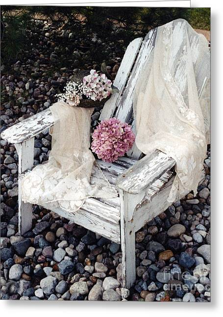 Garden Photographs Greeting Cards - Vintage Romantic Shabby Chic Adirondac Chair Greeting Card by Kathy Fornal