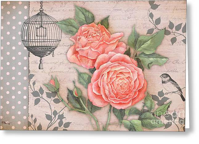 Dot Greeting Cards - Vintage Rose Collage Greeting Card by Paul Brent