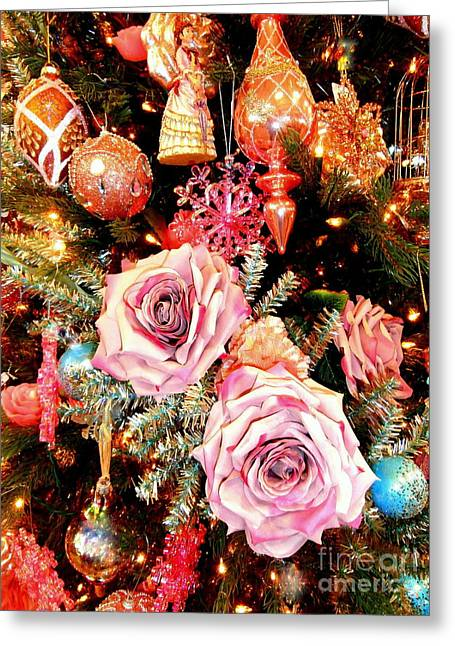 Vintage Rose Holiday Decorations Greeting Card by Janine Riley
