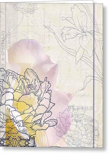 Love Letter Greeting Cards - Vintage Rose Love letters Art Print Greeting Card by ArtyZen Studios - ArtyZen Home