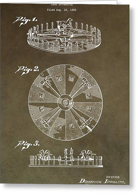 Roulettes Greeting Cards - Vintage Roulette Wheel Patent Greeting Card by Dan Sproul