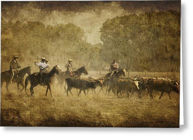 Vintage Roundup Greeting Card by Priscilla Burgers