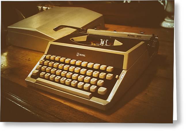 Typewriter Greeting Cards - Vintage Royal Typewriter Greeting Card by Mountain Dreams