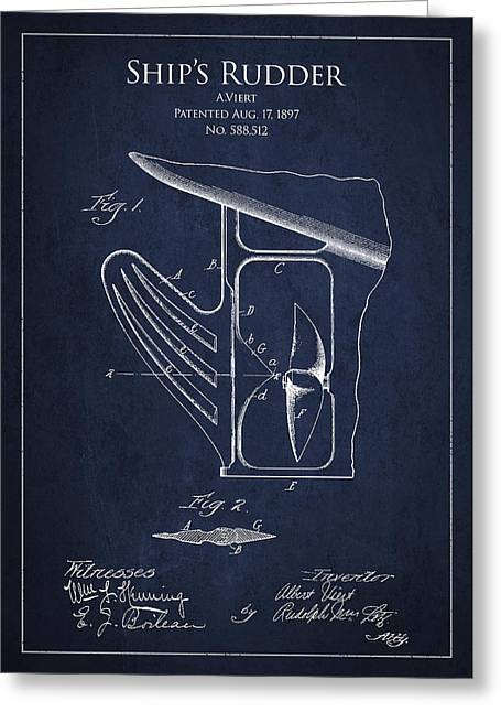 Steering Greeting Cards - Vintage Rudder Patent Drawing from 1887 Greeting Card by Aged Pixel