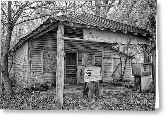 Photographers Greensboro Greeting Cards - Vintage Rural Gas Station Greeting Card by Dan Carmichael