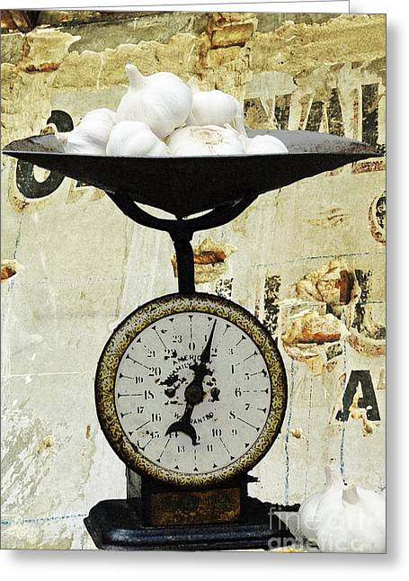 Decorative Fish Greeting Cards - Vintage Rustic Scale and Garlic Greeting Card by Anahi DeCanio