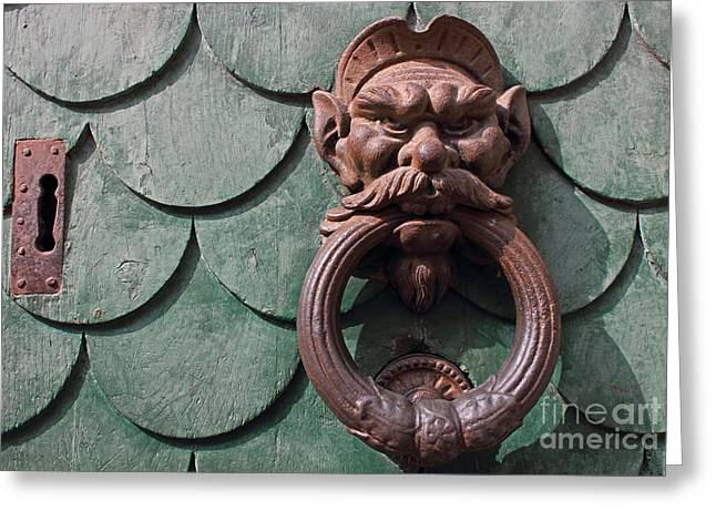 Knob Greeting Cards - Vintage rusty door knocker in Pisa Italy Greeting Card by Kiril Stanchev