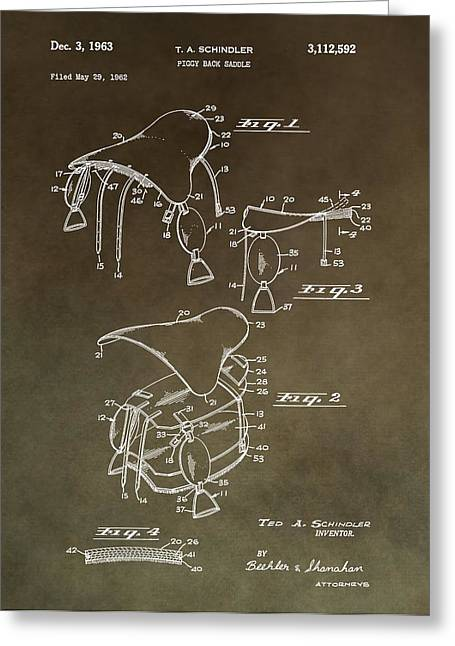 Equestrianism Greeting Cards - Vintage Saddle Patent Drawing Greeting Card by Dan Sproul