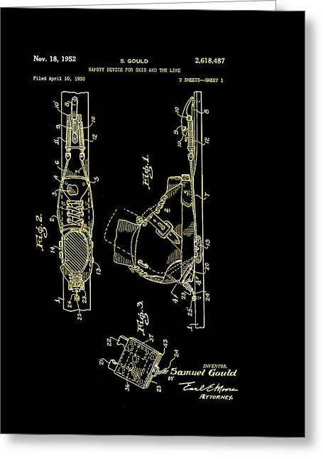Ski Drawings Greeting Cards - Vintage Safety Device for Skis Patent 1952 Greeting Card by Mountain Dreams