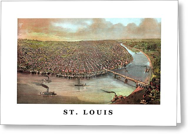 Missouri Mixed Media Greeting Cards - Vintage Saint Louis Missouri Greeting Card by War Is Hell Store