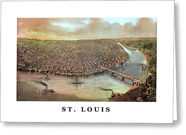 River View Mixed Media Greeting Cards - Vintage Saint Louis Missouri Greeting Card by War Is Hell Store