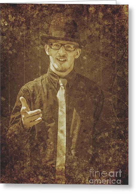 Persuade Greeting Cards - Vintage salesman Greeting Card by Ryan Jorgensen