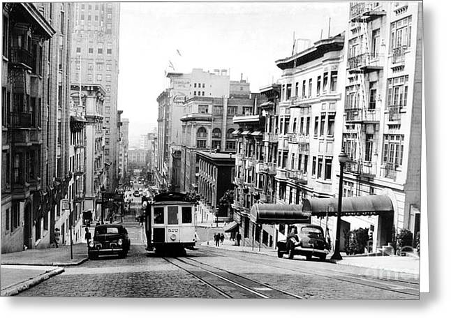 Cable Car Greeting Cards - Vintage San Francisco Cable Car Greeting Card by Jon Neidert