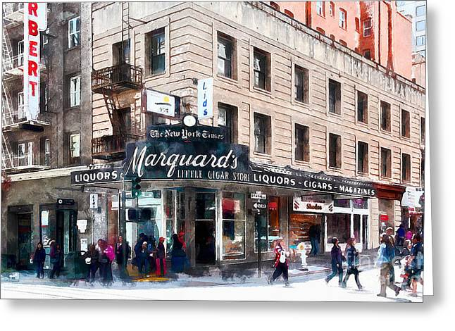 Downtown San Francisco Greeting Cards - Vintage San Francisco Marquards Little Cigar Store Powell Street 5D17950wcstyle Greeting Card by Wingsdomain Art and Photography