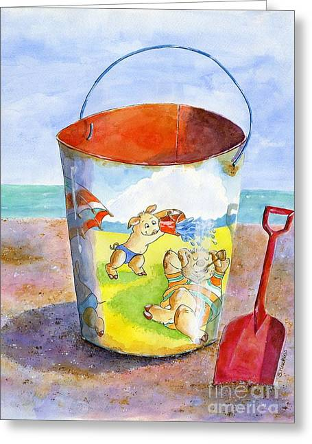 Sand Castles Paintings Greeting Cards - Vintage Sand Pail- 3 Pigs at the Beach Greeting Card by Sheryl Heatherly Hawkins