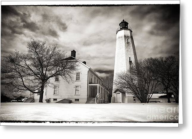 Down The Shore Greeting Cards - Vintage Sandy Hook Greeting Card by John Rizzuto