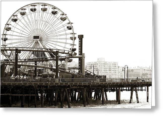 Brown Toned Art Greeting Cards - Vintage Santa Monica Pier Greeting Card by John Rizzuto