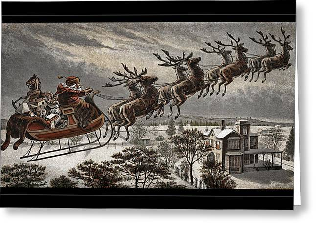 Old Saint Nick Greeting Cards - Vintage Santa Reindeer Sleigh Greeting Card by John Stephens