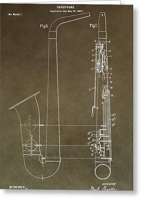 Noise . Sounds Digital Greeting Cards - Vintage Saxophone Patent Greeting Card by Dan Sproul