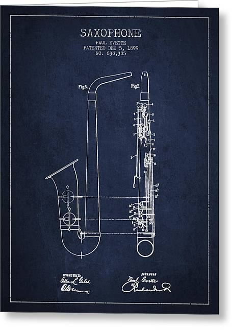 Saxophone Patent Drawing From 1899 - Blue Greeting Card by Aged Pixel