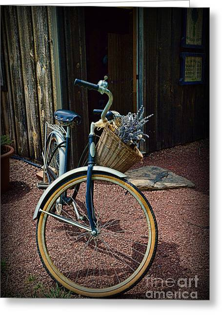 Ladies Bike Greeting Cards - Vintage Schwinn and the Barn Door Greeting Card by Paul Ward