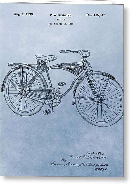 Seated Mixed Media Greeting Cards - Vintage Schwinn Bicycle Patent Greeting Card by Dan Sproul