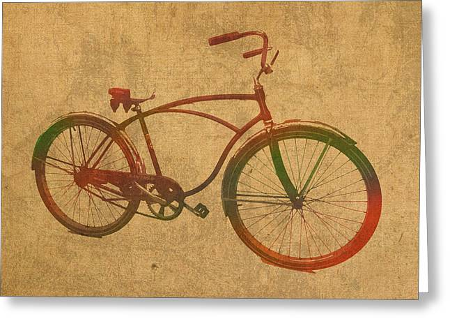 Vintage Bicycle Greeting Cards - Vintage Schwinn Bicycle Watercolor on Worn Distressed Canvas Series No 003 Greeting Card by Design Turnpike