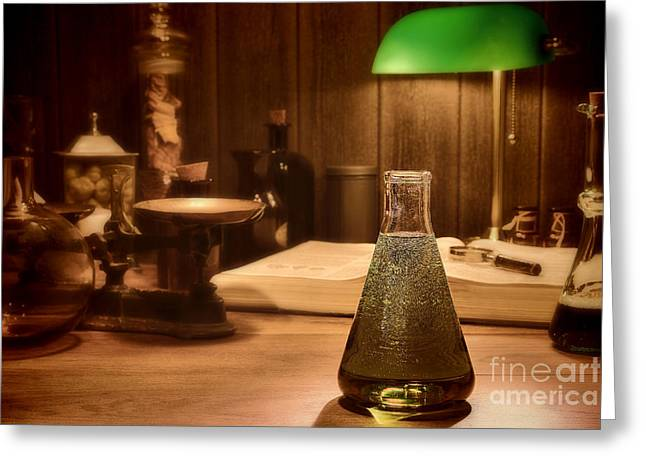 Experiment Greeting Cards - Vintage Science Laboratory Greeting Card by Olivier Le Queinec