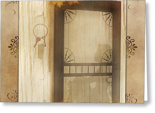 Screen Doors Greeting Cards - Vintage Screen Door Greeting Card by TnBackroads Photography
