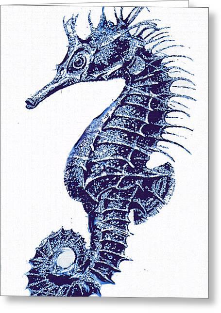 Seahorses Digital Art Greeting Cards - Vintage Seahorse-blue-right Greeting Card by Jane Schnetlage