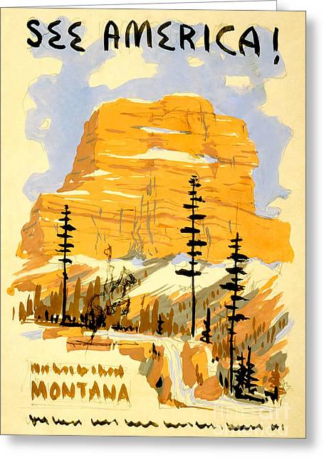 Vintage Travel Greeting Cards - Vintage See America Travel Poster Greeting Card by Jon Neidert